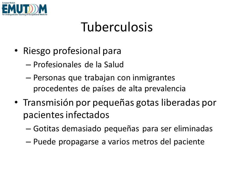 Tuberculosis Riesgo profesional para