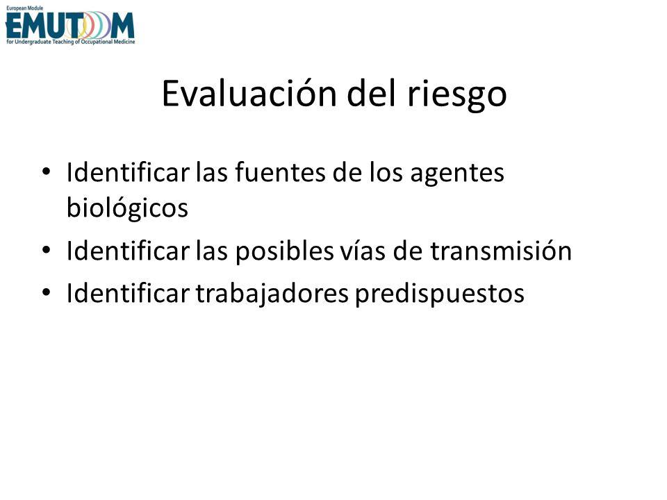 Evaluación del riesgoIdentificar las fuentes de los agentes biológicos. Identificar las posibles vías de transmisión.