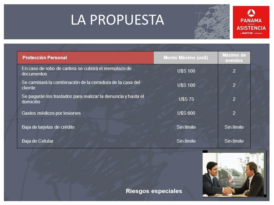 LA PROPUESTA Riesgos especiales Protección Personal Monto Máximo (us$)