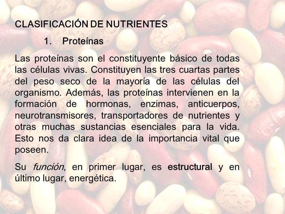 CLASIFICACIÓN DE NUTRIENTES 1. Proteínas
