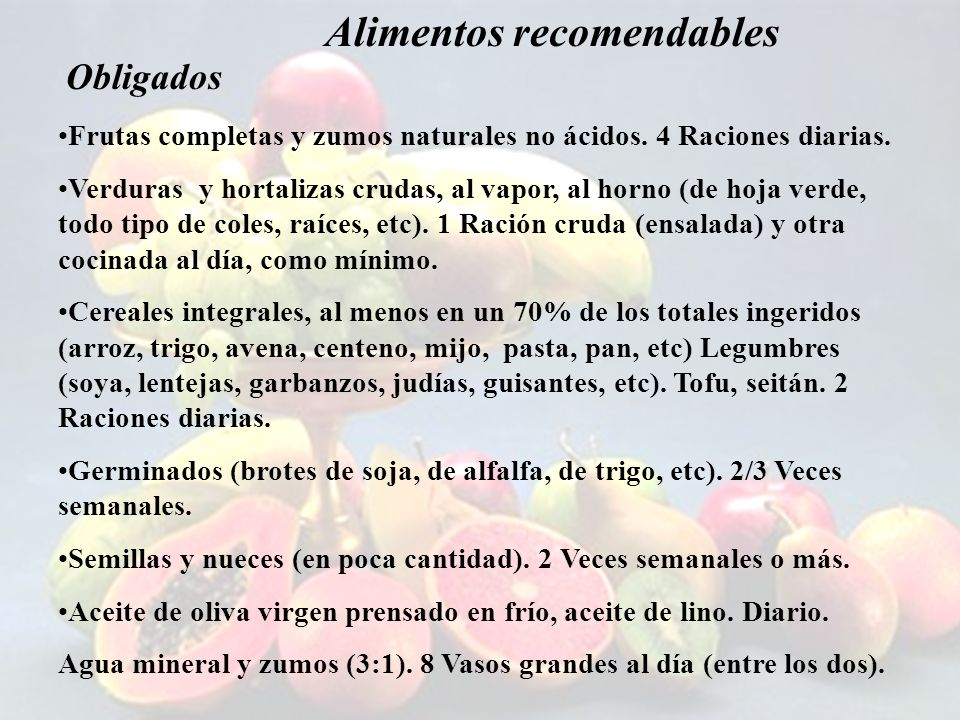 Alimentos recomendables