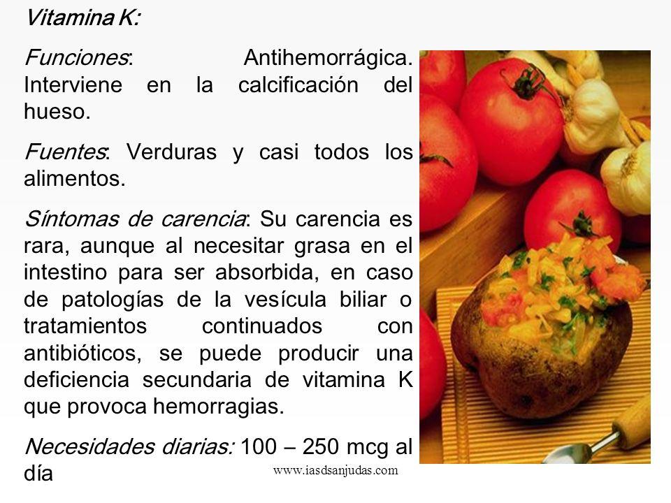 Funciones: Antihemorrágica. Interviene en la calcificación del hueso.