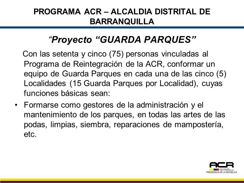 PROGRAMA ACR – ALCALDIA DISTRITAL DE BARRANQUILLA