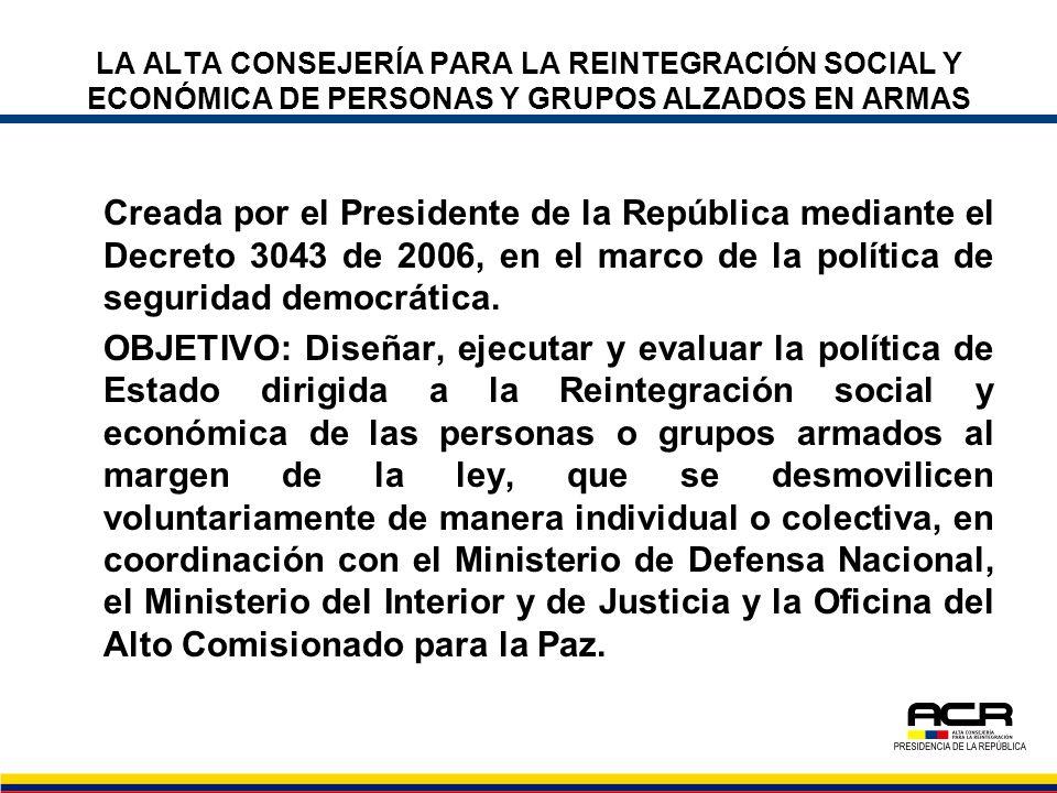LA ALTA CONSEJERÍA PARA LA REINTEGRACIÓN SOCIAL Y ECONÓMICA DE PERSONAS Y GRUPOS ALZADOS EN ARMAS