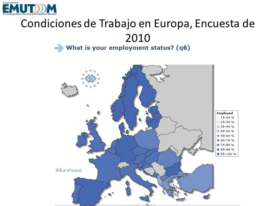 Condiciones de Trabajo en Europa, Encuesta de 2010