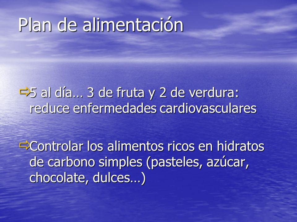 Plan de alimentación 5 al día… 3 de fruta y 2 de verdura: reduce enfermedades cardiovasculares.