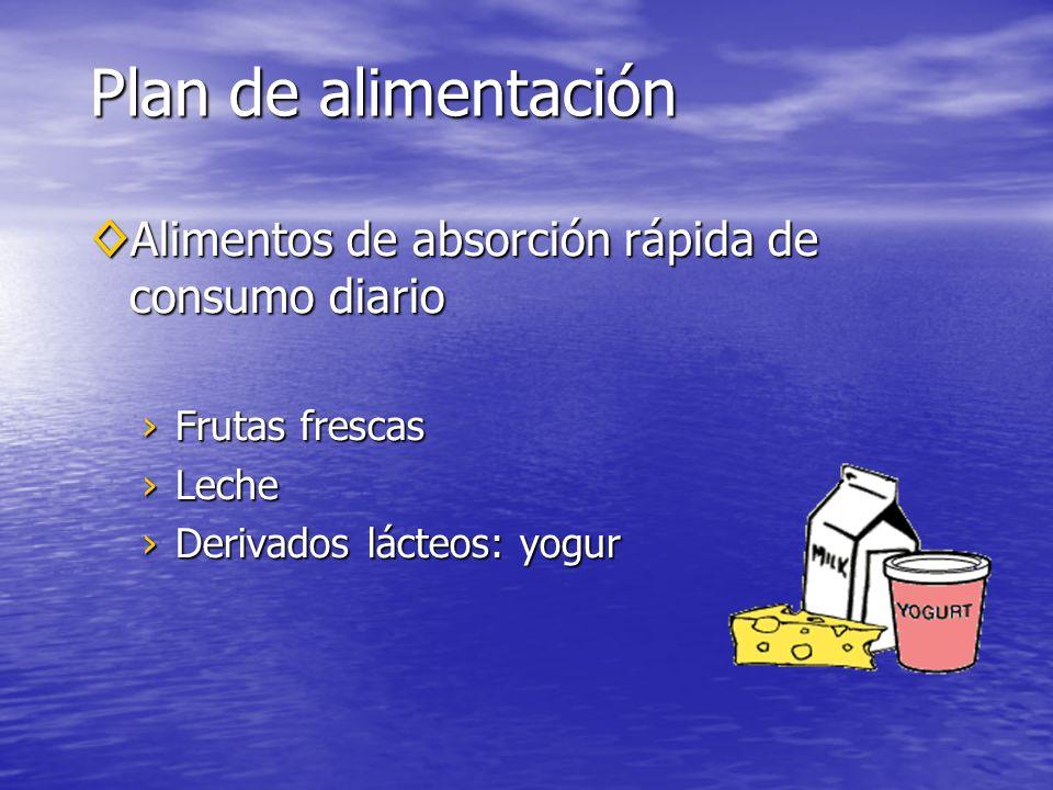 Plan de alimentación Alimentos de absorción rápida de consumo diario