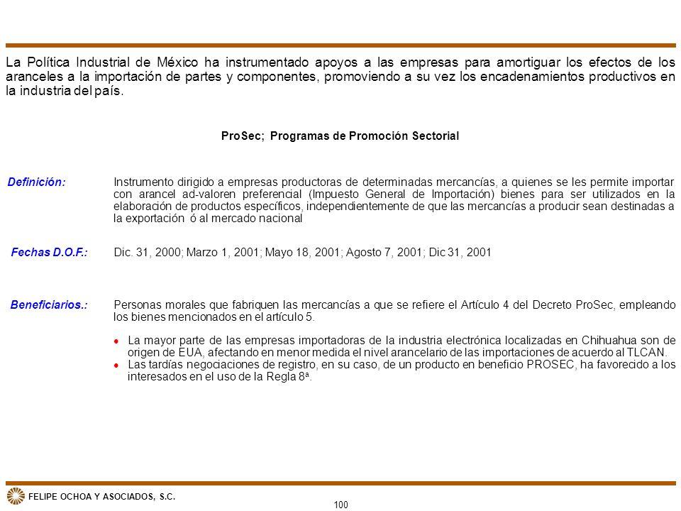 ProSec; Programas de Promoción Sectorial