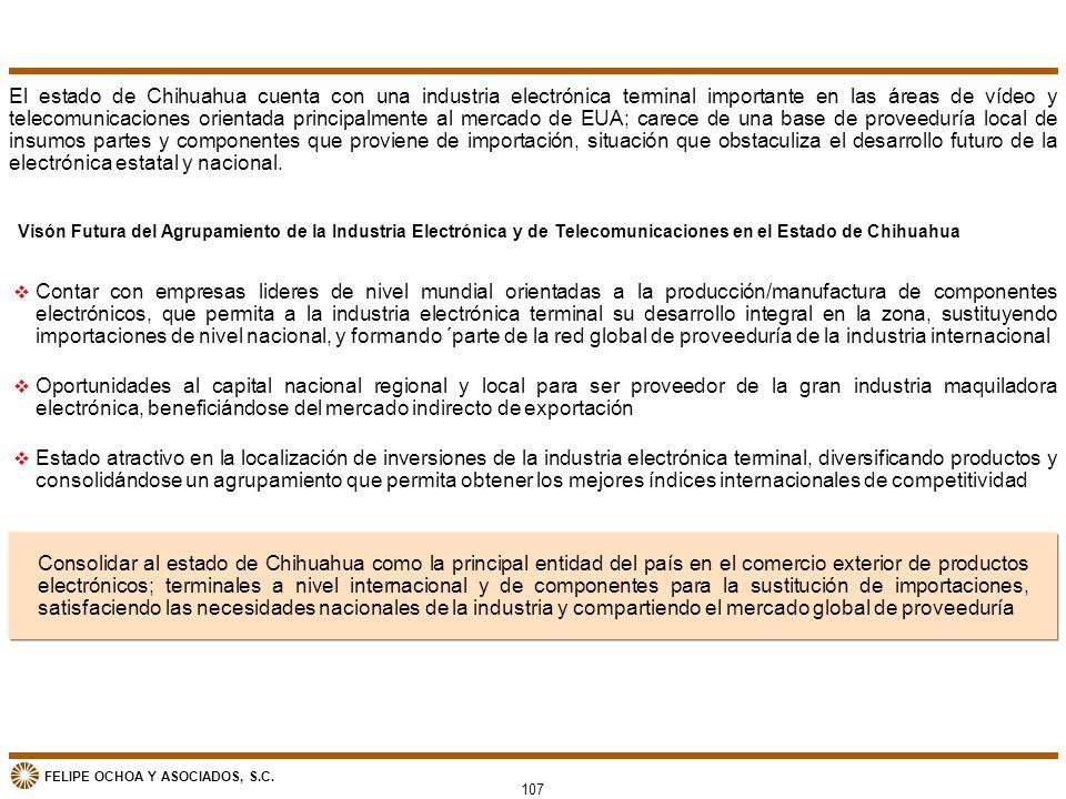 El estado de Chihuahua cuenta con una industria electrónica terminal importante en las áreas de vídeo y telecomunicaciones orientada principalmente al mercado de EUA; carece de una base de proveeduría local de insumos partes y componentes que proviene de importación, situación que obstaculiza el desarrollo futuro de la electrónica estatal y nacional.