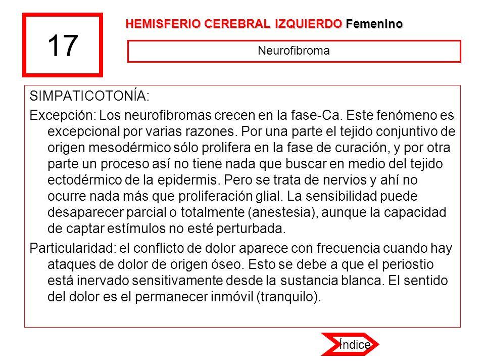 17 HEMISFERIO CEREBRAL IZQUIERDO Femenino. Neurofibroma. SIMPATICOTONÍA: