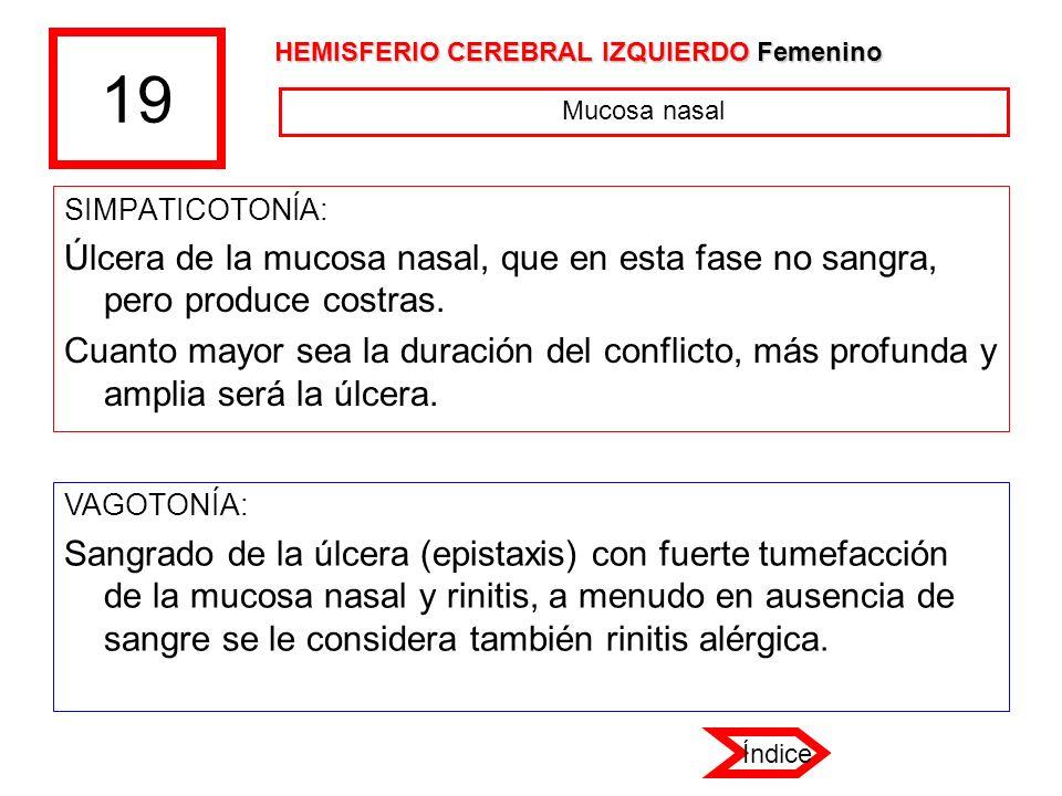 19 HEMISFERIO CEREBRAL IZQUIERDO Femenino. Mucosa nasal. SIMPATICOTONÍA: