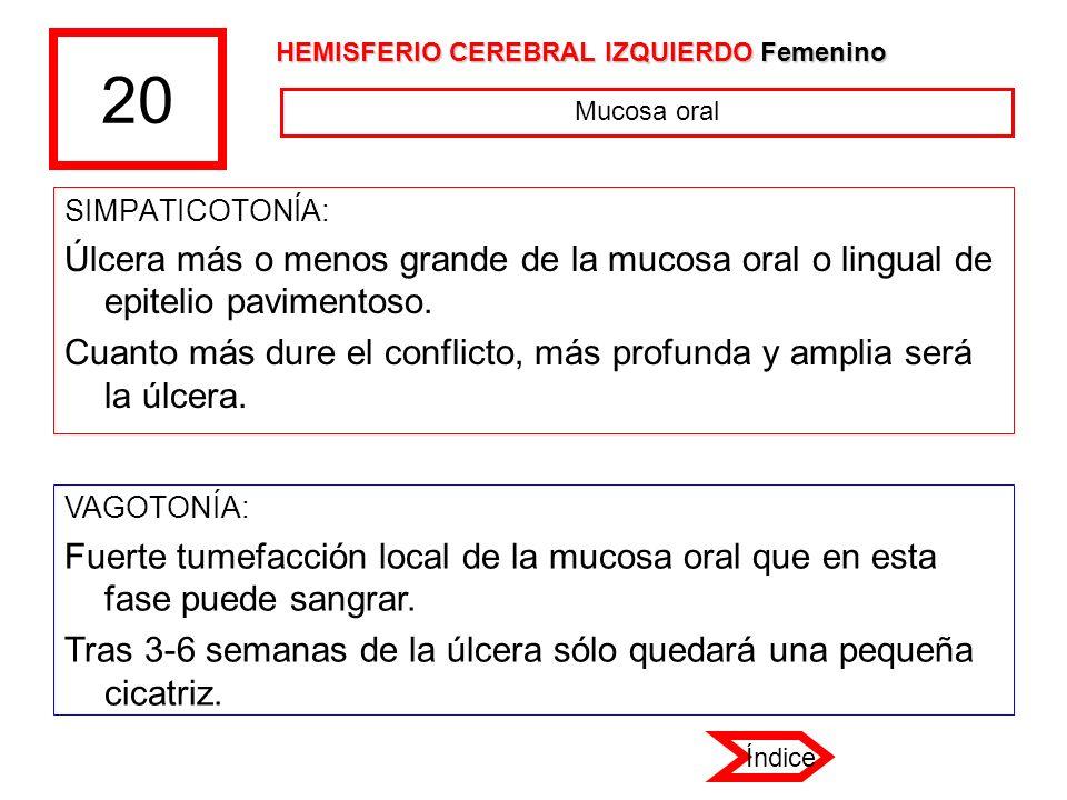 20 HEMISFERIO CEREBRAL IZQUIERDO Femenino. Mucosa oral. SIMPATICOTONÍA: