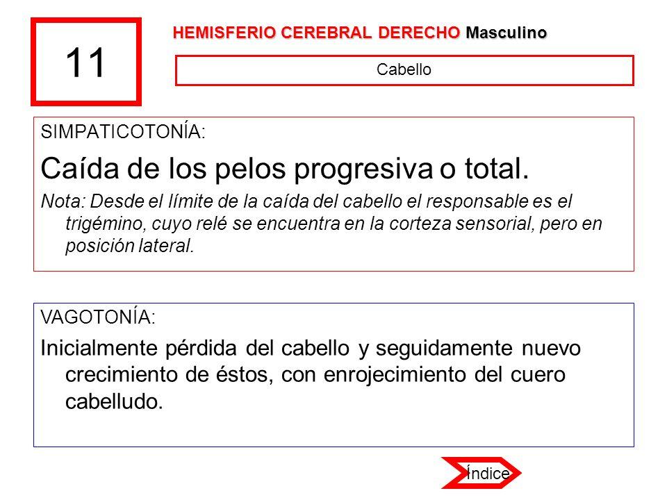 11 Caída de los pelos progresiva o total.