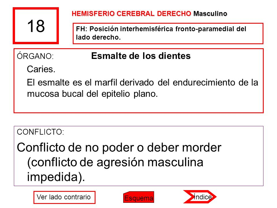 18 HEMISFERIO CEREBRAL DERECHO Masculino. FH: Posición interhemisférica fronto-paramedial del lado derecho.