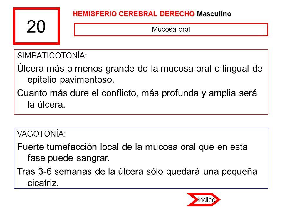 20 HEMISFERIO CEREBRAL DERECHO Masculino. Mucosa oral. SIMPATICOTONÍA: