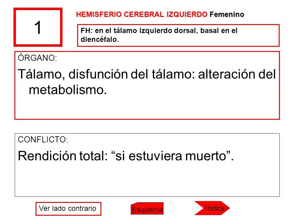 1 Tálamo, disfunción del tálamo: alteración del metabolismo.