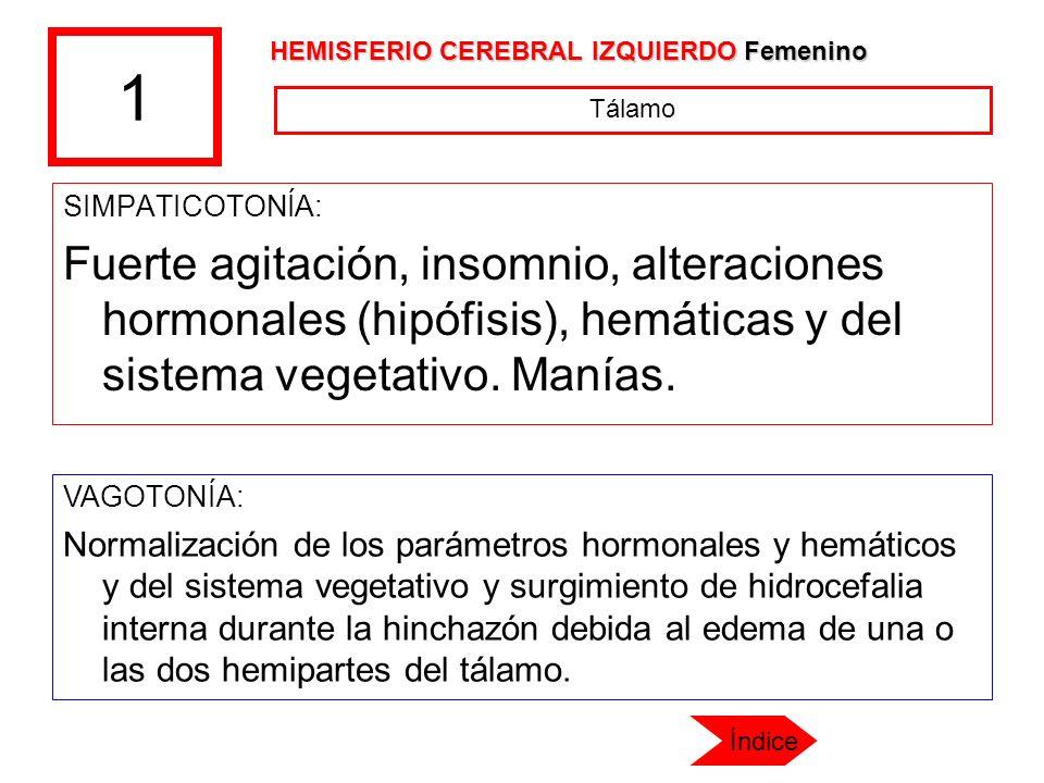 1 HEMISFERIO CEREBRAL IZQUIERDO Femenino. Tálamo. SIMPATICOTONÍA: