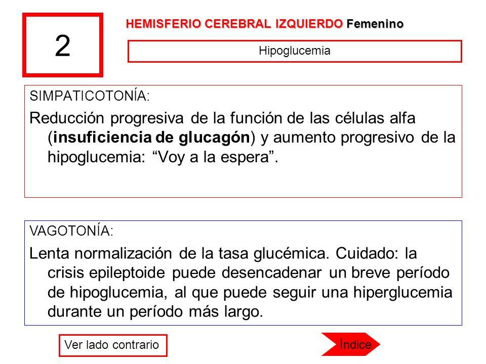 2 HEMISFERIO CEREBRAL IZQUIERDO Femenino. Hipoglucemia. SIMPATICOTONÍA:
