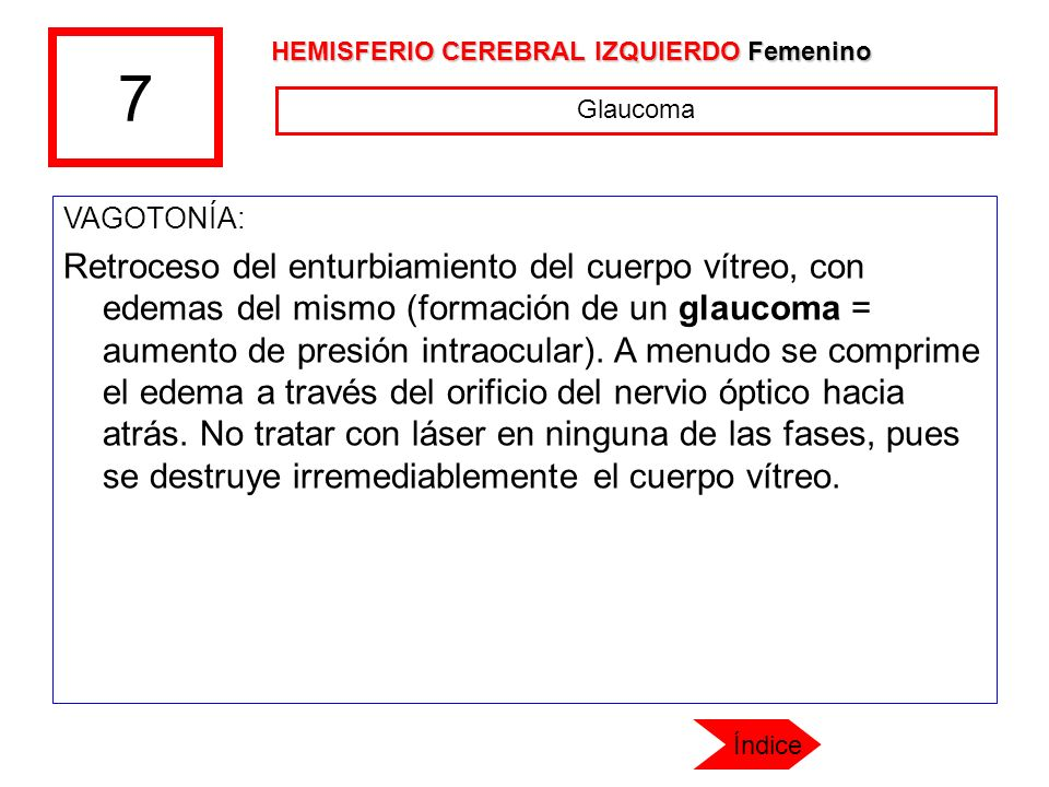 7 HEMISFERIO CEREBRAL IZQUIERDO Femenino. Glaucoma. VAGOTONÍA: