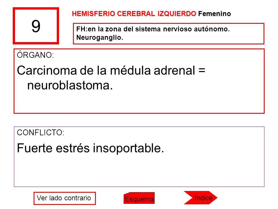 9 Carcinoma de la médula adrenal = neuroblastoma.