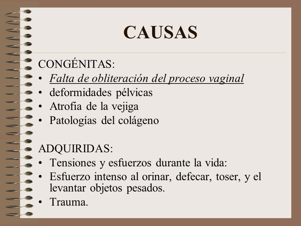 CAUSAS CONGÉNITAS: Falta de obliteración del proceso vaginal