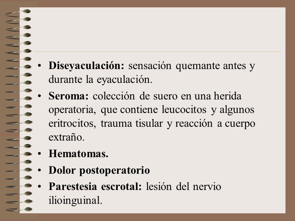 Diseyaculación: sensación quemante antes y durante la eyaculación.