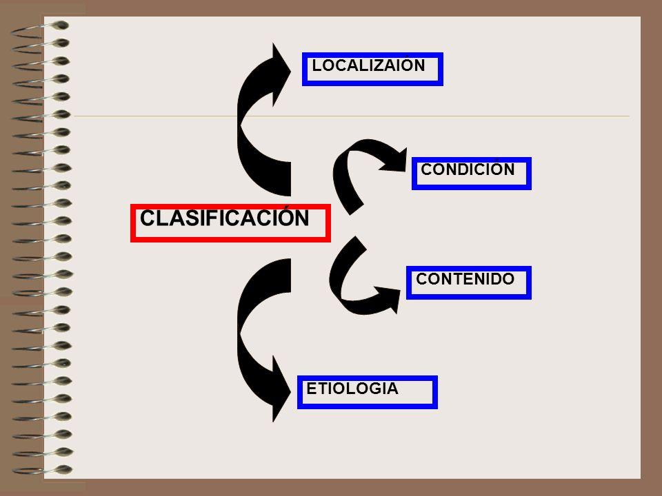 LOCALIZAIÓN CONDICIÓN CLASIFICACIÓN CONTENIDO ETIOLOGIA