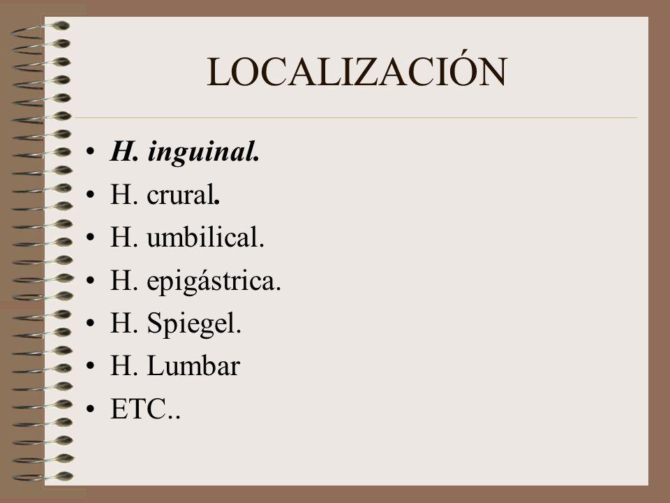 LOCALIZACIÓN H. inguinal. H. crural. H. umbilical. H. epigástrica.