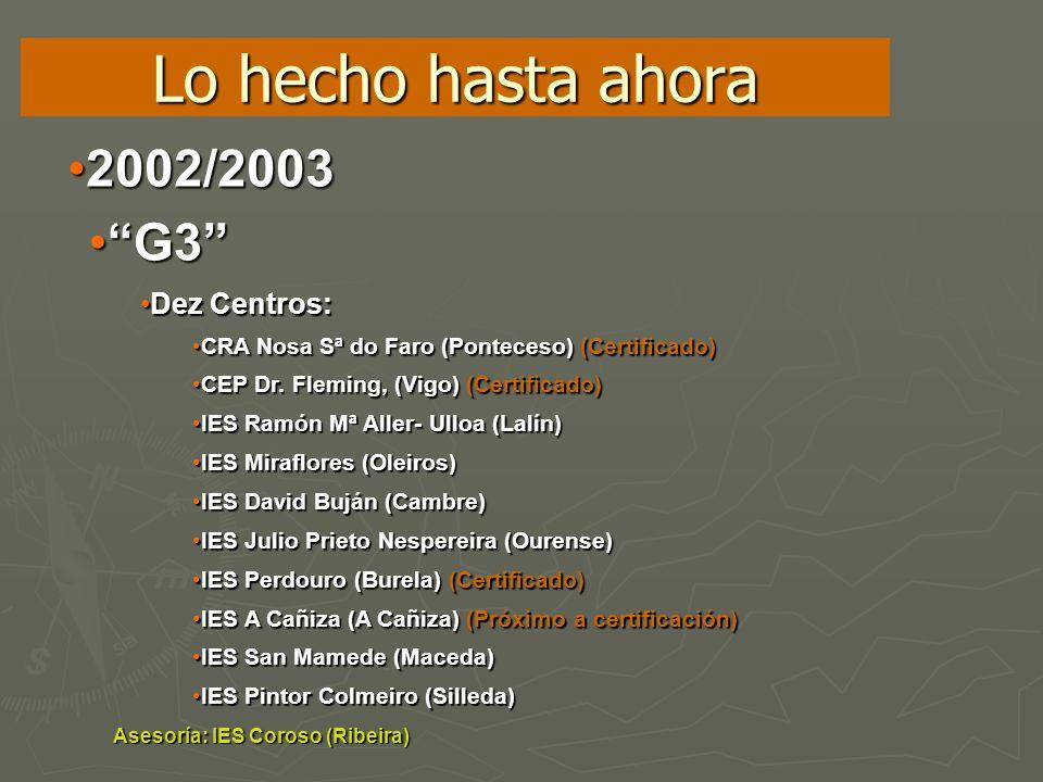 Lo hecho hasta ahora 2002/2003 G3 Dez Centros: