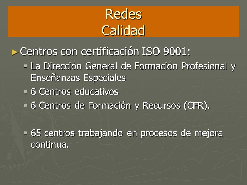 Redes Calidad Centros con certificación ISO 9001: