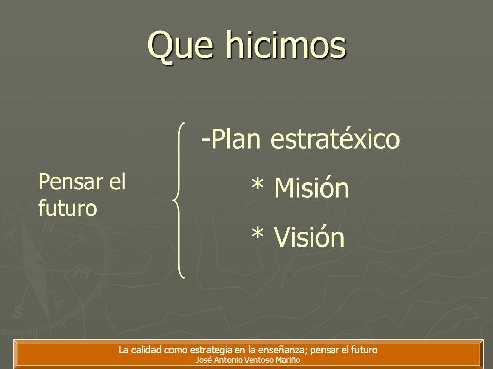 Que hicimos -Plan estratéxico * Misión * Visión Pensar el futuro