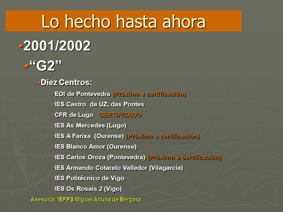 Lo hecho hasta ahora 2001/2002 G2 Diez Centros: