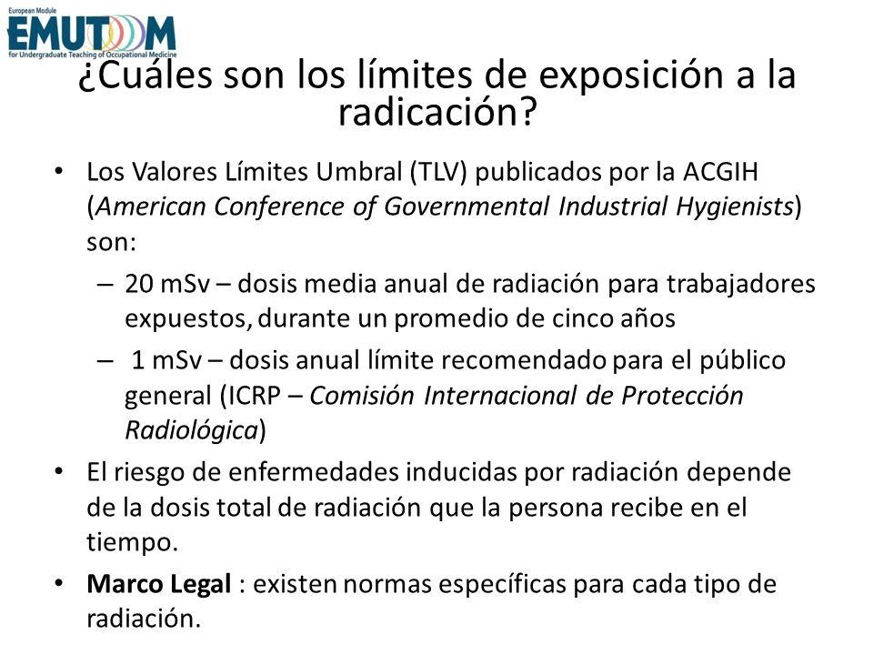 ¿Cuáles son los límites de exposición a la radicación