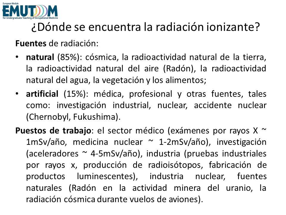 ¿Dónde se encuentra la radiación ionizante