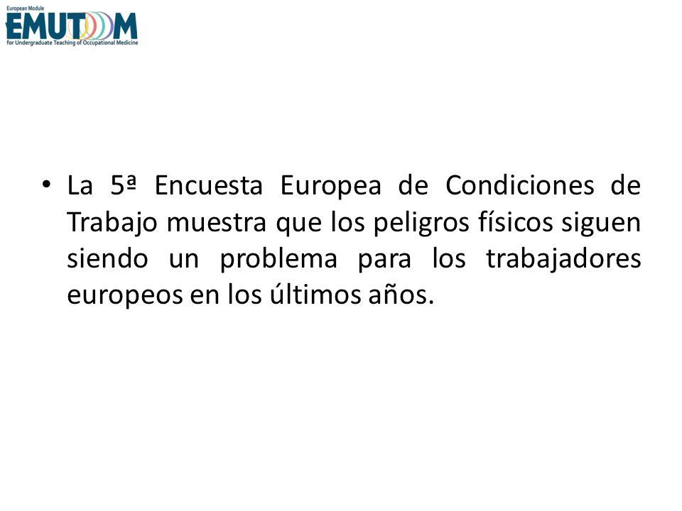 La 5ª Encuesta Europea de Condiciones de Trabajo muestra que los peligros físicos siguen siendo un problema para los trabajadores europeos en los últimos años.
