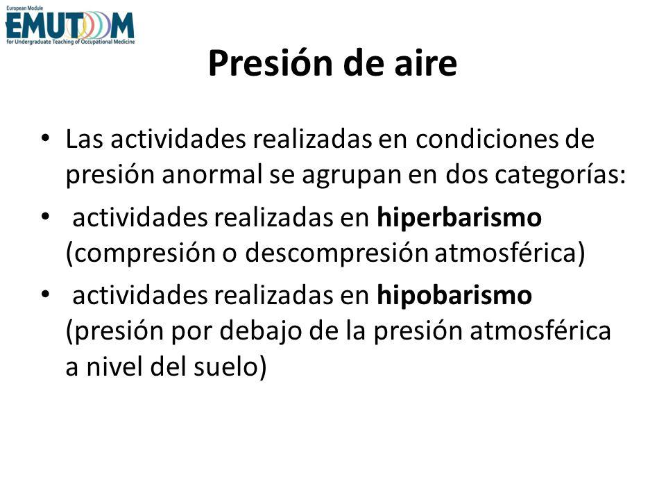Presión de aire Las actividades realizadas en condiciones de presión anormal se agrupan en dos categorías: