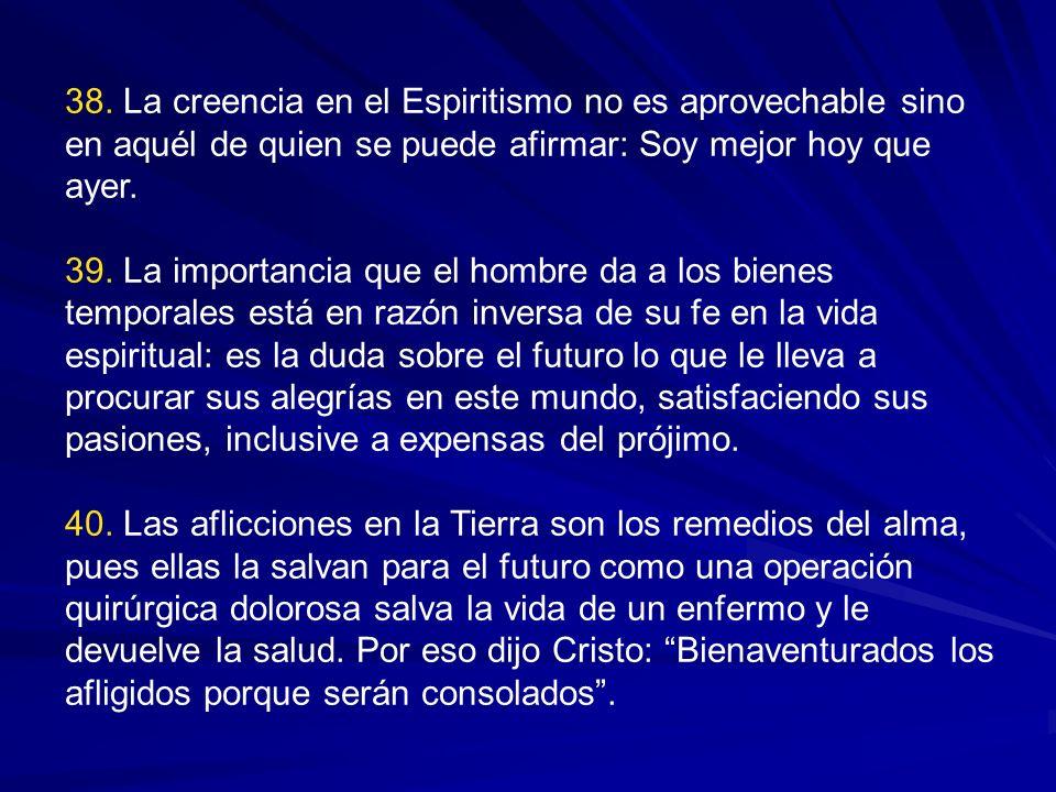 38. La creencia en el Espiritismo no es aprovechable sino en aquél de quien se puede afirmar: Soy mejor hoy que ayer.