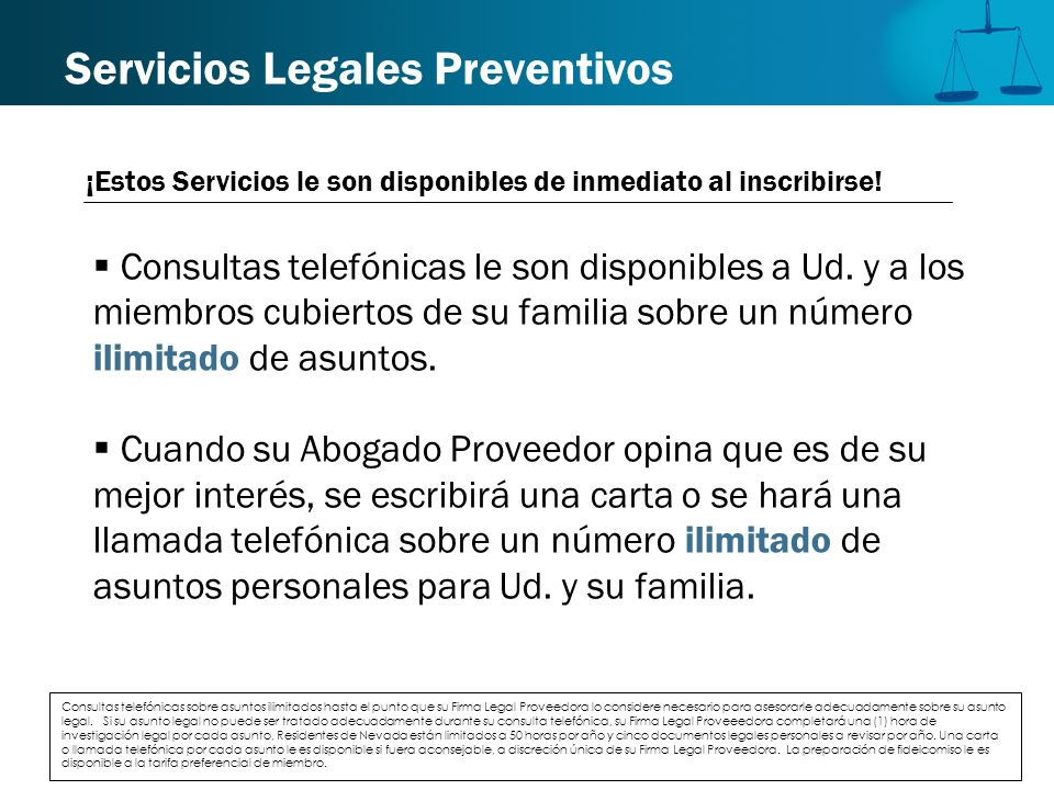 Servicios Legales Preventivos