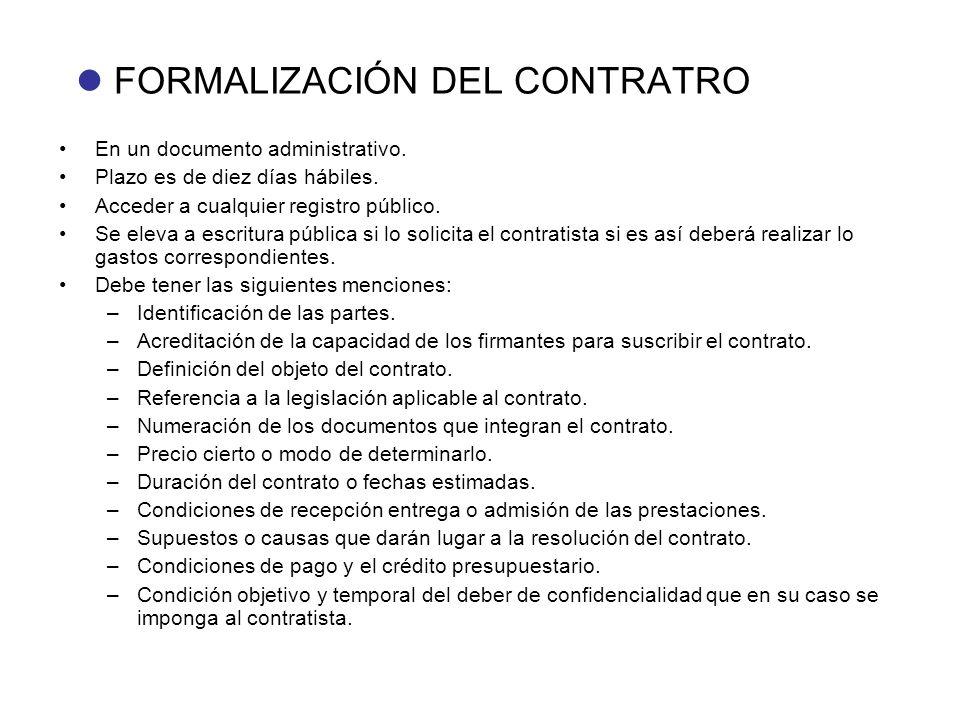  FORMALIZACIÓN DEL CONTRATRO