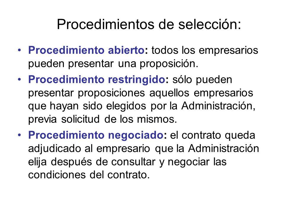 Procedimientos de selección: