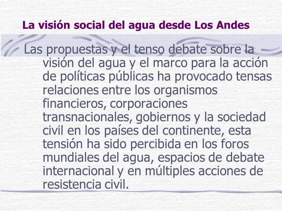 La visión social del agua desde Los Andes