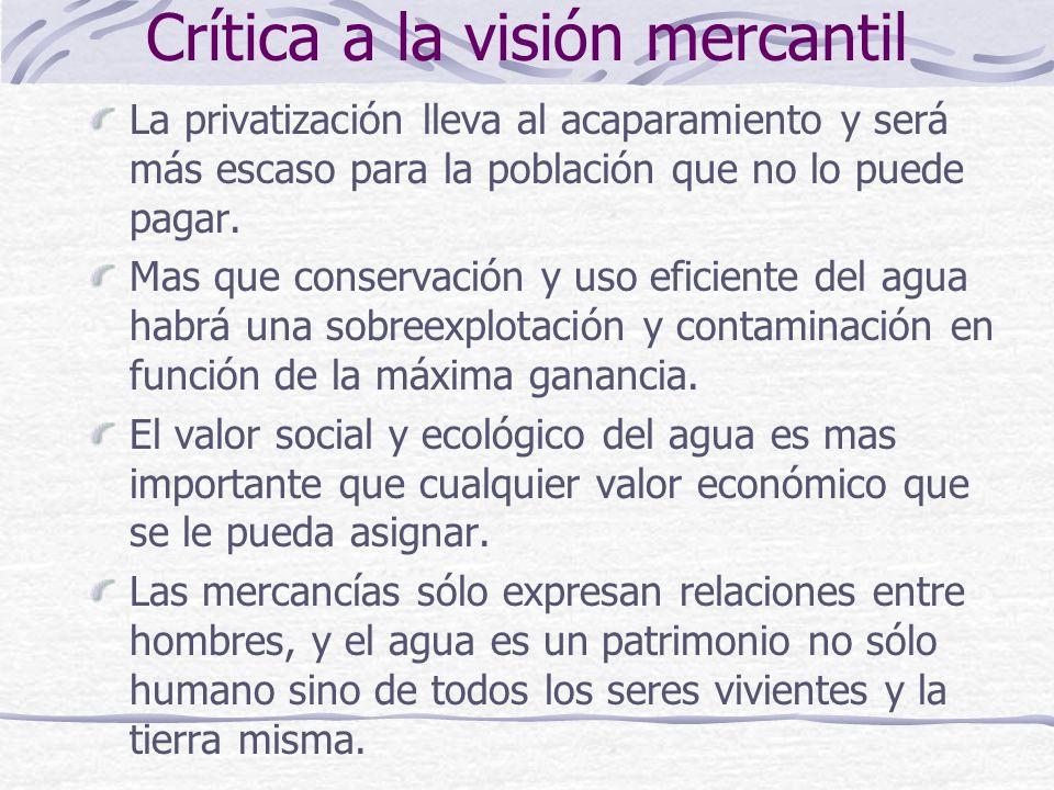 Crítica a la visión mercantil