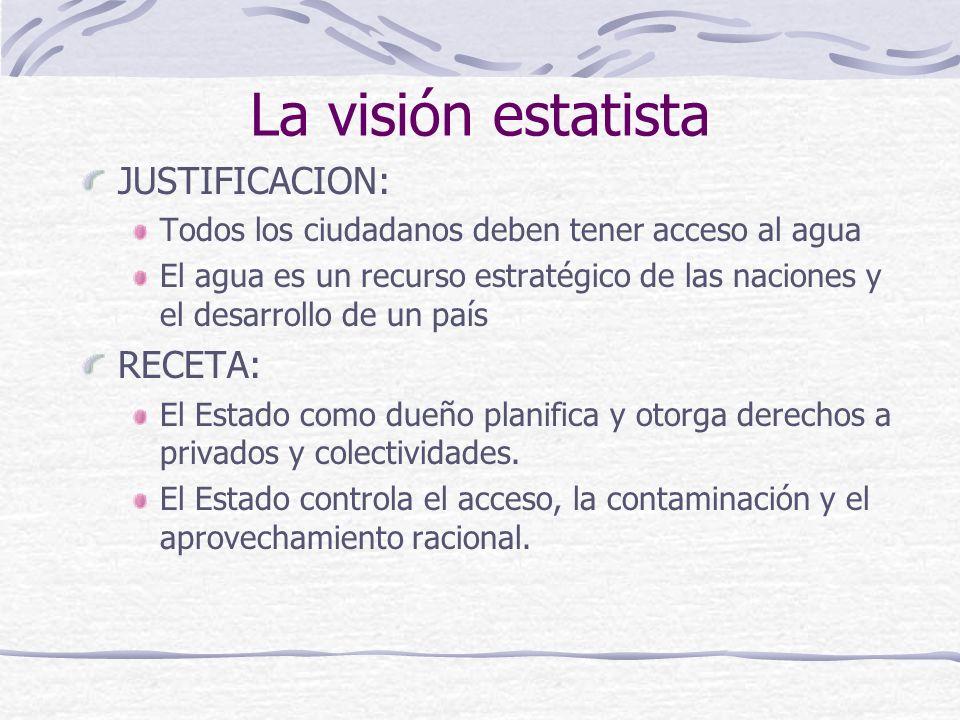 La visión estatista JUSTIFICACION: RECETA: