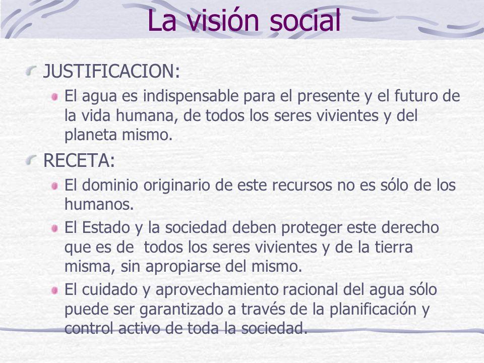La visión social JUSTIFICACION: RECETA: