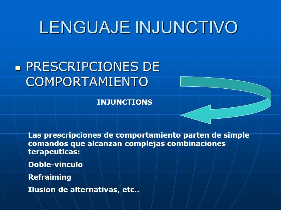 LENGUAJE INJUNCTIVO PRESCRIPCIONES DE COMPORTAMIENTO INJUNCTIONS