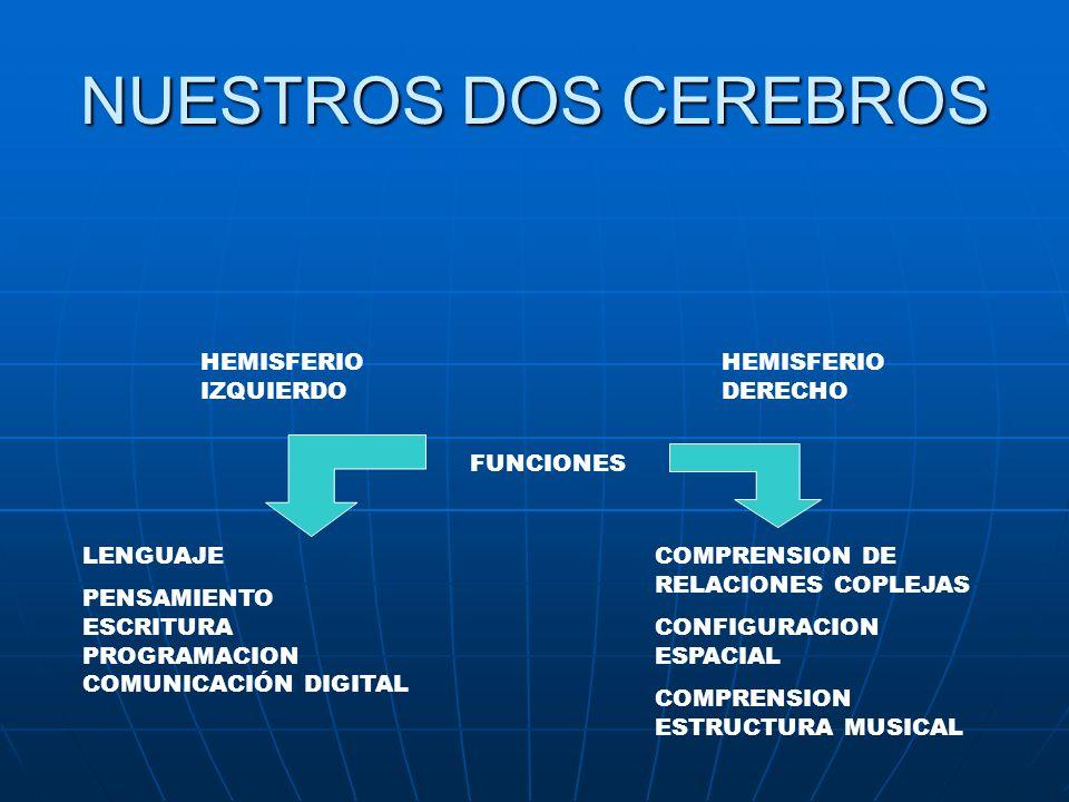 NUESTROS DOS CEREBROS HEMISFERIO IZQUIERDO HEMISFERIO DERECHO