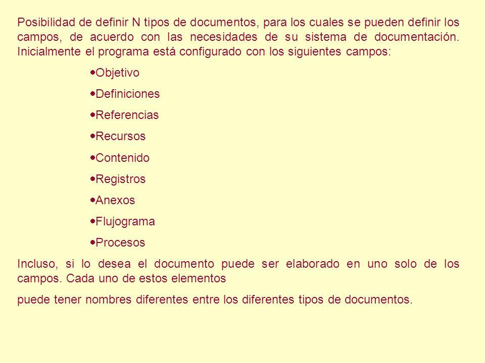 Posibilidad de definir N tipos de documentos, para los cuales se pueden definir los campos, de acuerdo con las necesidades de su sistema de documentación. Inicialmente el programa está configurado con los siguientes campos: