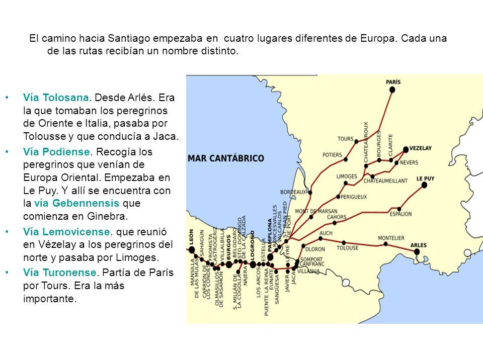 El camino hacia Santiago empezaba en cuatro lugares diferentes de Europa. Cada una de las rutas recibían un nombre distinto.