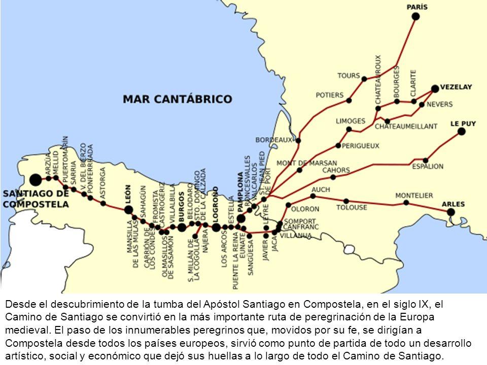 Desde el descubrimiento de la tumba del Apóstol Santiago en Compostela, en el siglo IX, el Camino de Santiago se convirtió en la más importante ruta de peregrinación de la Europa medieval.