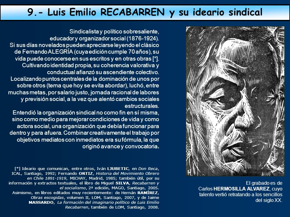 9.- Luis Emilio RECABARREN y su ideario sindical